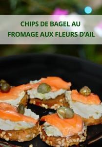CHIPS DE BAGEL AU FROMAGE AUX FLEURS D'AIL