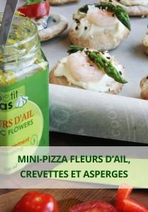 mini-pizza fleur d'ail, crevettes et asperges