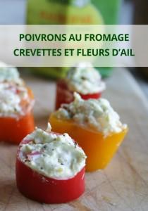Poivrons au fromage, crevettes et fleurs d'ail
