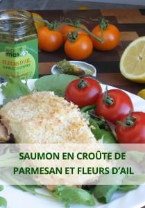 saumon en croute de parmesan et fleurs d'ail