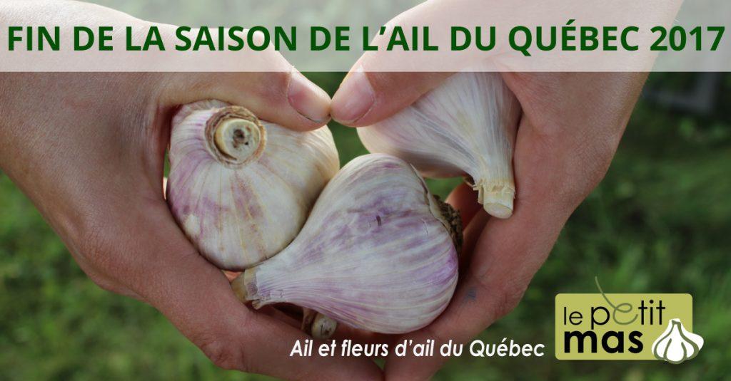 Fin de la saison de l'ail du Québec 2017