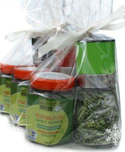 Emballage cadeau sel de fleurs d'ail déshydratées et fleurs d'ail fermentées