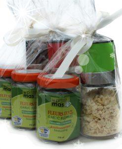 paquet cadeau fleurs d'ail fermentées ail déshydraté du Québec