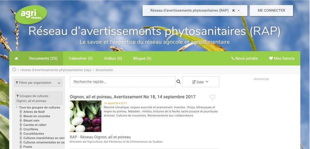 réseau d'avertissement phytosanitaire du MAPAQ