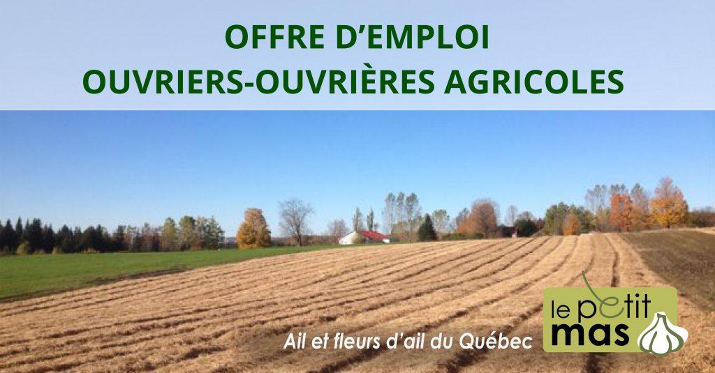 offre emploi ouvrier agricole